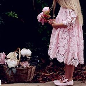 2bunnies pink lace Easter/spring flower girl dress